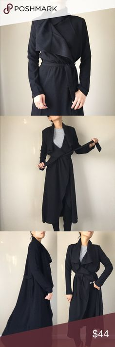"""Taylor versatile long duster coat. Long versatile drape duster coat. With waist tie. Drape styling cascading front. Create stylish look every other day. 100%polyblend.  Size S: length 49""""bust:36"""" w:38"""". Size M length 49"""", bust :37"""" w:39"""". Size L length 50"""", bust 38"""", w:40"""". Follow me on  INSTAGRAM: @chic_bomb  and FACEBOOK: @thechicbomb CHICBOMB Jackets & Coats Trench Coats"""