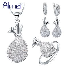 Almei 2016 New Fashion Lady Jewellery Silver Kettle Jewelry Sets Pave Crystal Rhinestone Earrings Ring Necklace for Woman  T064