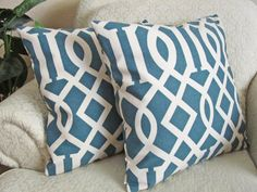 Blue Throw Pillow Covers, Teal Geometric Cushion Covers, Teal Pillows, Lattice Decorative Pillow Covers, Home Decor - Set of Two - 18 x 18