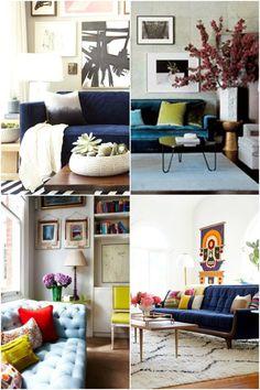Currently Obsessed Navy Velvet Sofas  Living Room  Pinterest Gorgeous Blue Sofa Living Room Design Design Ideas
