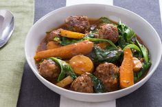 Navarin-Style Lamb Meatball Stew with Pea Tips & Carrots. Visit https://www.blueapron.com/ to receive the ingredients.