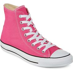 Converse Chuck Taylor All Star Womens High-Top Pink Paper Sneakers ($45) ❤ liked on Polyvore featuring shoes, sneakers, converse, pink, pink high top sneakers, high top shoes, rubber sole shoes, lacing sneakers and high top trainers
