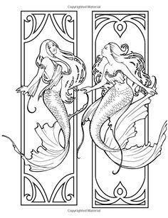 Artist Selina Fenech Fantasy Myth Mythical Mystical Legend Elf Elves Dragon Dragons Fairy Fae Wings Fairies Mermaids Mermaid Siren Sword Sorcery Magic Witch Wizard Coloring pages colouring adult detailed advanced printable Kleuren voor volwassenen coloriage pour adulte anti-stress kleurplaat voor volwassenen Line Art Black and White Mermaids