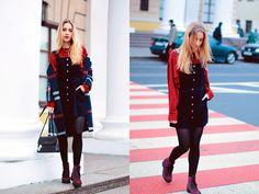 Get this look: http://lb.nu/look/8103052  More looks by Anna Pogribnyak: http://lb.nu/annapogribnyak  Items in this look:  Choies Overall Dress, Romwe Blouse, Zaful Coat, Gor (Ukrainian Brand) Boots   #chic #elegant #preppy #streetstyle #kiev #ukraine #navy #marsala #burgundy