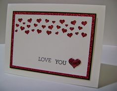 SUPER Cute and Clean and Simple Valentines day card -- Stampin' Studio: Love You! Confetti Heart Punch, Glimmer Paper, and Itty Bitty Epoxy Sticker - Valentine Love Cards, Scrapbooking, Heart Cards, Creative Cards, Cool Cards, Anniversary Cards, Homemade Cards, Stampin Up Cards, Holiday Cards