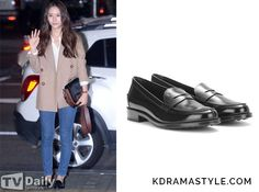 Krystal Wears Black Loafers at Wrap Up Party for Bride of the Water God - KdramaStyle Krystal Jung Fashion, Bride Of The Water God, Loafers Outfit, August 22, Black Leather Loafers, Super Star, Korean Style, Wearing Black, Business Casual