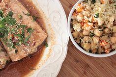 Lombos de Salmão com Mostarda e Salada de Couscous e Grão de Bico