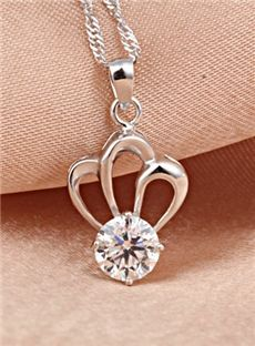 Amazing Look Princess Style Crown Silver Necklace With Rhinestone: tidestore.com