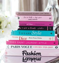 Colorful fashion books to decorate coffee table