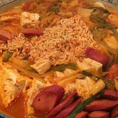 Ahjummarecipes.com | Army Base Stew (부대찌개, Budae-Jjigae)