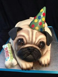 Pug cake for all the owners of this adorable breed - Pubg Pic Pug Birthday Cake, Puppy Birthday, Fancy Cakes, Cute Cakes, Awesome Cakes, Fondant Cakes, Cupcake Cakes, Pug Cupcakes, 3d Cakes