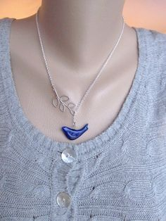 Bird and Branch Necklace  Navy Porcelain Bird on by IrinSkye, $20.00