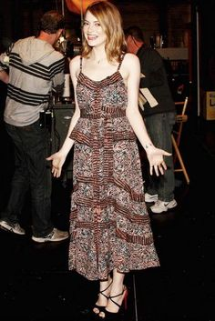 Emma Stone wearing Christian Louboutin Cross Minetta Suede & Python Platform Pumps, Jennifer Meyer Gem Pendant Necklace and Jennifer Meyer Rose Gold Trillion Diamond Necklace