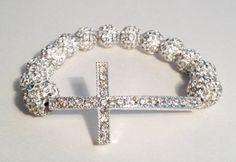 NEW Bling Hoops White Swarovski Cross Bracelet by BlingHoops, $14.99