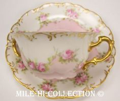 AWESOME LIMOGES ROSES BOUILLON CUP & SAUCER