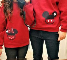 Personalized Matching Couples Mickey & Minnie Sweatshirt - His Hers Save the Date/Wedding Date Crewneck Sweatshirts - Disney Couples Shirts
