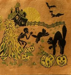 Spooky! Great Halloween Paper Napkin Great vintage condition Seasonal colors orange, black, yellow, and green Bats, black cats, skeletons, Jack O lanterns, haunted house! Measures approx a creepy 13 X 13 This would make a great addition to your Halloween decorations. Perfect for a shadow box or picture frame From out of business antiques store (1) One Napkin Smoke free home Combined shipping available Any questions, please take a moment to message before buying Thanks for looking