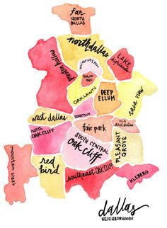Map of Dallas Watercolor Print 11x14 by KatiRamer on Etsy get one for every state you have lived in- so cute!!