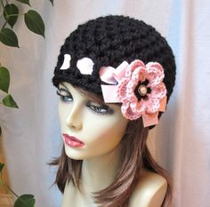 Crochet Womens Hat Black Beanie Pink Crochet by JadeExpressions