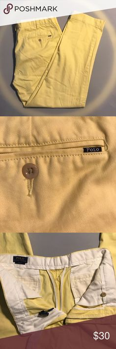 Polo Ralph Lauren Slim Classic Yellow Pastel Pants Nice shade of yellow. 34/30 Good overall condition Polo by Ralph Lauren Pants Chinos & Khakis