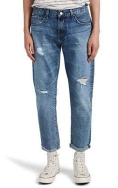 J BRAND ELI DISTRESSED SELVEDGE-DENIM TAPERED JEANS. #jbrand #cloth Mom Jeans, Skinny Jeans, Tapered Jeans, Barneys New York, J Brand, Slim, Mens Fashion, Fitness, Pants