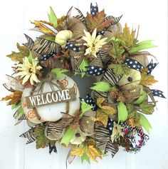 Deco Mesh Fall Burlap Welcome Wreath w/Cream Colored Pumpkins by www.southerncharmwreaths.com