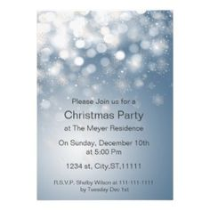 winter snowflake blue Holiday party Invitation on www.mgdezigns.com #Christmas #Holidays