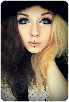 Half blonde half black dyed hair and makeup