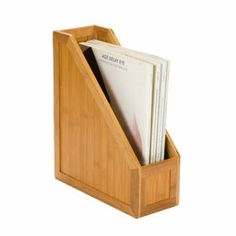 The Container Store > Bamboo Magazine File  $20  You could use this file for my folders for class!