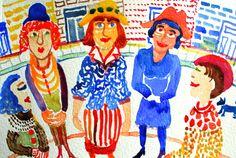 Les Belles Dames Watercolour 14 x 18 cms