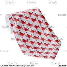 Shop Crimson Red Posh Poodle Neck Tie created by LeonOziel. Custom Ties, Unique Image, Business Supplies, Etiquette, Poodle, Floral Tie, Red, Gifts, Presents
