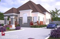 Bedroom Bungalow (RF 4 Bedroom bungalow design in Nigeria. Contact (Calls and Whatsapp) E mail: 4 Bedroom bungalow design in Nigeria. Contact (Calls and Whatsapp) E ma. House Plans Mansion, Duplex House Plans, Barn House Plans, Family House Plans, Modern Bungalow House Design, Modern Bungalow Exterior, Duplex House Design, Bungalow Designs, Architect Design House
