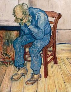 """Artist: Vincent van Gogh      """"Old Man in Sorrow (On the Threshold of Eternity)"""" 1890.   Early in the year, Vincent had written to his brother Theo, """"Let me go quietly on with my work; if it is that of a madman, well, so much the worse, I can't help it."""" Vincent van Gogh only painted when his condition was stable, and he was well aware that his seizures could return at any time, but he resolved to continue his pursuit of consolation through his art."""