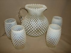 """5 Piece Vintage Fenton FRENCH Glass OPALESCENT HOBNAIL Pitcher Set ~ Lemonade Iced Tea Water ~ Large 8"""", 80oz Pitcher by PastPossessionsOnly on Etsy"""