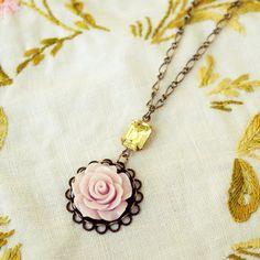 Get on my neck!!!  Purple Rose Necklace with Vintage Swarovski by DearDelilahHandmade