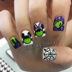 Who doesn't love properly manicured and well-groomed nails. Ensuring you get as creative with your nails as you are with your clothes is the industry of nail art designs. Today, the trend of nail… Uñas Disney Halloween, Cute Halloween Nails, Halloween Nail Designs, Scary Halloween, Halloween Ideas, Trendy Nails, Cute Nails, My Nails, Disney Nail Designs