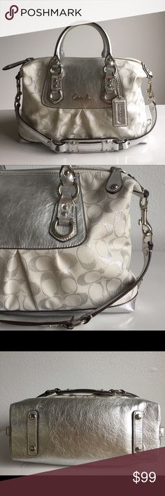 "✨COACH Ashley Satchel✨ Excellent condition Authentic Coach bag. Exterior: double silver patent leather handles approx. 5"" drop; detachable strap; protective feet rests; shiny silver tone hardware; Coach logo on front; top zip closure.  Interior: fully lined with silky fabric; a zip pocket on back wall with Coach creed and logo with serial # E1120-F15804; a slip pocket on front wall. Coach Bags Satchels"