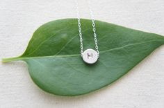 Silver initial disc necklace personalized letter a door RainRainRain, $22.00