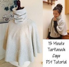 This tutorial is perfect for beginner sew-ists. It consists of 2 simple shapes sewn together with 2 seams. Turtleneck Cape DIY Tutorial Difficulty: Very Easy Time: minutes Materials: (Diy Ropa Costura) Diy Clothing, Sewing Clothes, Clothing Patterns, Sewing Patterns, Diy Cape, Sewing Hacks, Sewing Tutorials, Sewing Projects, Sewing Tips