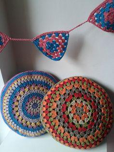 almohadones redondos crochet tejidos de punto 493951