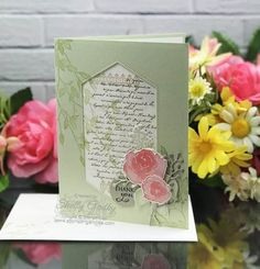Beautiful Handmade Vintage Card Idea with New Stampin' Up! Handmade Greetings, Greeting Cards Handmade, Free Cards, Easter Colors, Sympathy Cards, Stamping Up, Creative Cards, Cool Cards, Vintage Cards