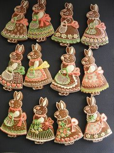 Gingerbread Bunnies for Easter/Spring Honey Cookies, Iced Cookies, Cute Cookies, Easter Cookies, Holiday Cookies, Cookie Decorating Icing, Cookie Decorating Supplies, Baby Girl Cookies, Polish Easter
