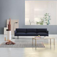 Discover Outline 3 Seater Sofa and all Muuto collection on Mohd. Muuto, Scandinavian Design, Sofa, Black Sofa, Home, Muuto Sofa, Coffee Table, White Rug, Home Decor