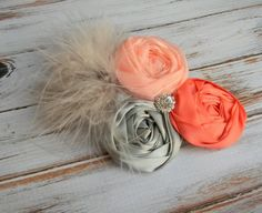 Coral and Grey flower hair clip Wedding by PoshPrincessBows1, $14.99