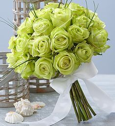 Beach #Wedding Rose Bouquet- long-stem green roses, accented with bear grass and bound with a white double satin ribbon $70.00- $115.00