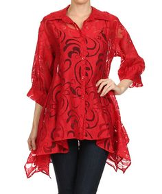 Love this Red Floral Sidetail Jacket by Come N See on #zulily! #zulilyfinds
