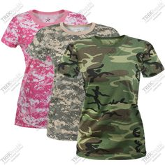 Womens Camo Shirt Woodland Camouflage T-Shirt, Army Fatigue .For the Dirty Girl Mud Run Camouflage T Shirts, Camo Shirts, Style Me, Cool Style, Army Fatigue, Summer Wear, Country Girls, Military Jacket, Tees
