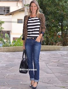 Look de trabalho - look do dia - look corporativo - moda no trabalho - work outfit - office outfit - winter outfit - look executiva - look de frio - look de inverno - warm outfit - mix de estampas - jeans - mix and match - listras e animal print - onça - leopard - Scarpin