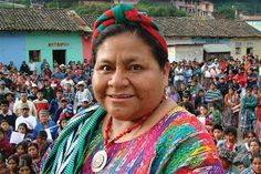 Photo of Rigoberta Menchú Tum, the first Indigenous woman and the youngest person ever to receive the Nobel Peace Prize.