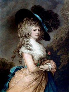 Lady Georgiana Cavendish. Thomas Gainsborough, Mezzotinta. 1787, Devonshire Collection, Inglaterra).